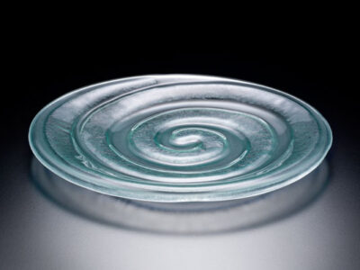 Spiral Glass Plate, lightly-frosted