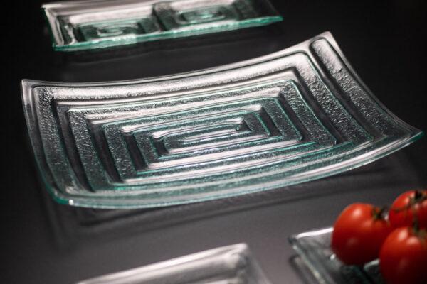 "Rectangle Glass Platter ""Labyrinth"""