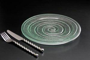 recycled-glass-dinner-plate-Spiral-clear