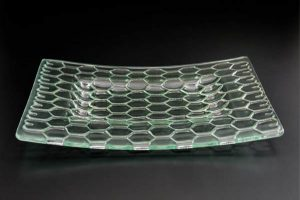 recycled-glass-serving-platter-Honeycomb-clear-curved-recessed-rectangle