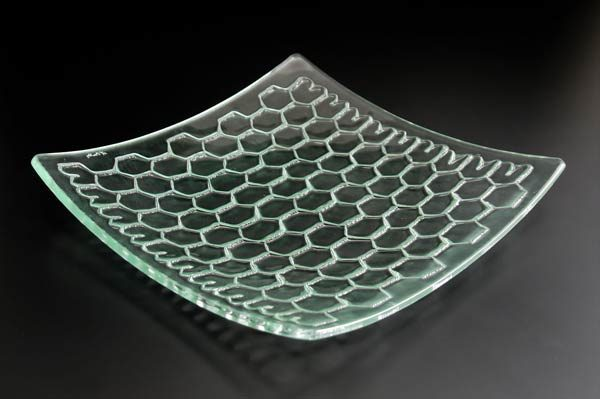 "Square Platter ""Honeycomb"", curved"