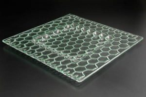 recycled-glass-serving-platter-Honeycomb-clear-recessed-square