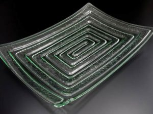 "Rectangle Glass Platter ""Labyrinth"""