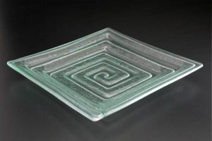 recycled-glass-serving-platter-Labyrinth-lightly-frosted-square