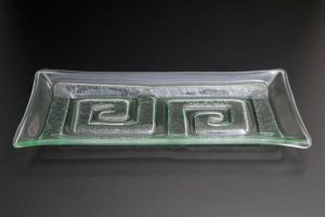 "Glass Platter ""Double Labyrinth"", flat"