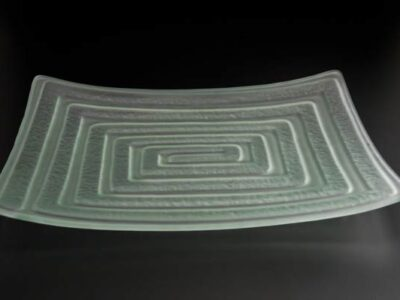 "Frosted Glass Platter ""Labyrinth"", rectangular"