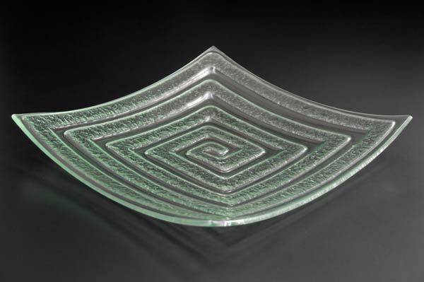 "Square Glass Platter ""Labyrinth"", curved"