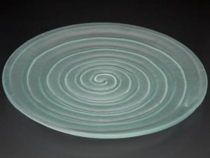 recycled-glass-serving-platter-Spiral-frosted